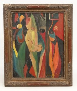 "Painting Cubist abstract signed LRC ""Gyarmathy Tihamer"" (Hungary 1915-2005). SOLD $1638"