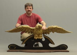19th c. carved and gilded pilot house eagle on later stand.
