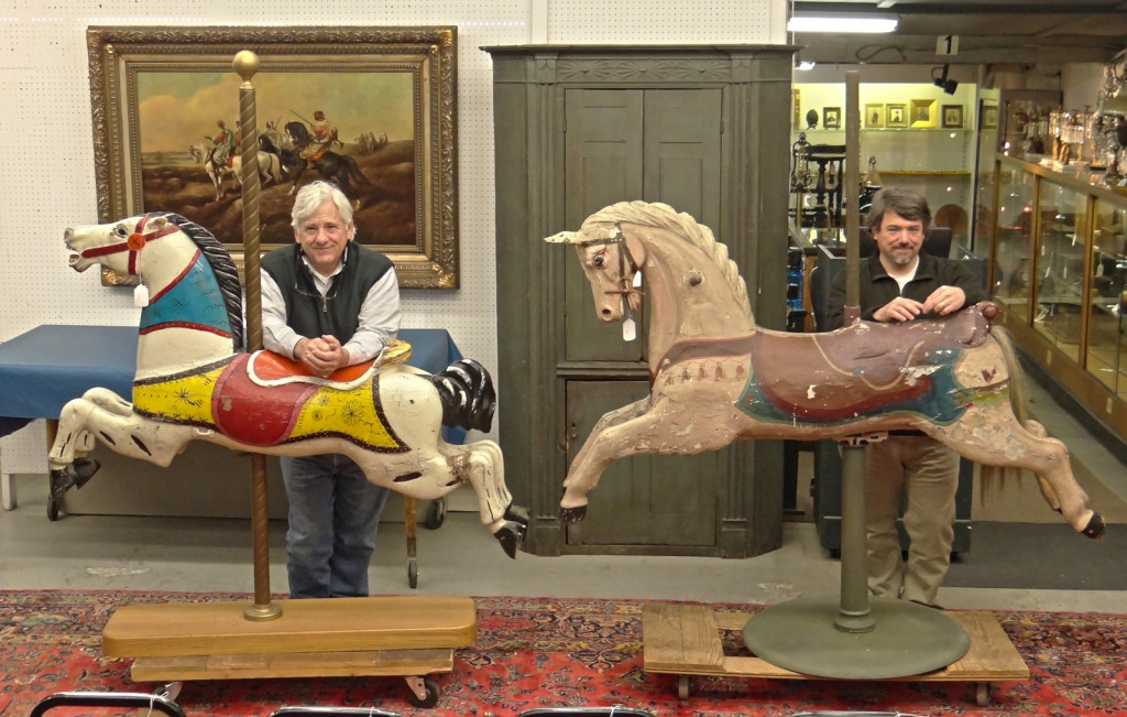 645 (L) 642 (L) Carousel horses, Lot 3 NJ cupboard
