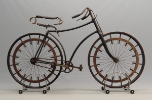 "C. 1888 hard tire safety bicycle. Features unusual, possibly unique engineered ""shock absorbing"" wheels."