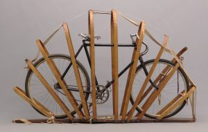 """Victorian bicycle shipping crate with bicycle. """"The Protector Bicycle Crate"""" Mfg. by Ellison & Freckleton 2526 7th Ave. NYC. Waltham Pneumatic Safety"""