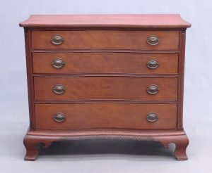 18th c. Ct. cherry serpentine four drawer chest, Wethersfield or Hartford County Ct