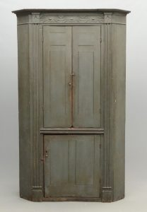 Early 19th c. Bergen County New Jersey corner cupboard in original blue/gray paint.