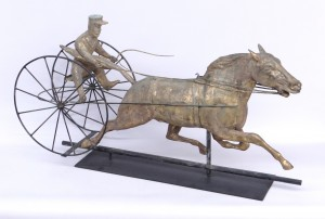 Horse and sulky weathervane attributed to St. Julian Company