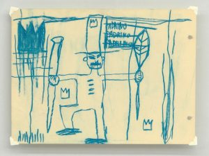 Jean-Michel Basquiat (1960-1988) oil stick on cream cardboard