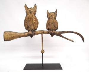 Owls on branch gilt copper weathervane