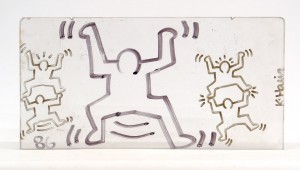 Keith Haring (1958-1990), New York-Pennsylvania, artwork on found object believed to be a plexiglass subway window