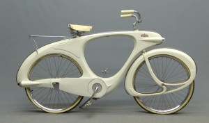 "C. 1960 Bowden ""Spacelander"" bicycle, white fiberglass,"