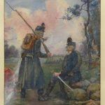 August Franzen (N.Y./Maine/Sweden 1863-1938), soldiers, watercolor.