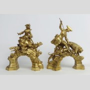 Pair Gilt Bronze Chenets