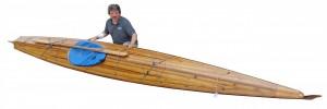 Handmade Aleutian wood strip and fiberglass kayak. 18