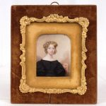 Lot 6. American School, miniature portrait of Marian Curtis (Mrs. Abraham M.) Cozzens. Watercolor on paper.