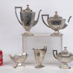 Lot 692. Barbour (5) piece sterling silver tea set.