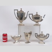 Barbour (5) piece sterling silver tea set.