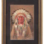 Joseph Scheuerle (1873-1948), portrait of American Indian. Watercolor.