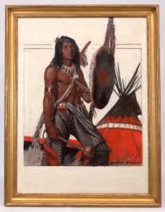 "Lot 209. Remington Schuyler (N.Y./MO. 1884-1955), ""Indian by Teepee"", Native American illustration. Oil on canvas"