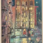 "Larry Morez (Cal. b. 1943), ""HOTEL WATERLOO"". Watercolor. Signed LLC."