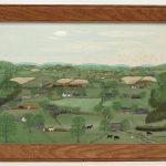 """Forrest K. Moses (1893-1974), landscape, oil on panel. Label verso. 16"""" x 24""""."""