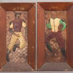 "Unusual embossed football players artwork. Marked ""RYAN""."
