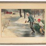 "Arthur D. Fuller (Ct./N.H. 1889-1966), illustration, skaters with Christmas tree. Signed LRC ""Arthur D. Fuller""."