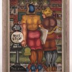 "Robert Thom (American 20th c.), two figures at bus stop, oil on canvas. Signed LRC ""THOM"""
