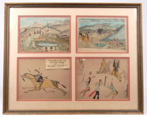 "Series of (4) framed Native American ledger drawings ""Drawing made by Indian Boy at Hampton School, Va.""."