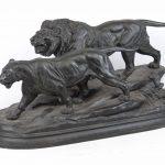 Paul Édouard Delabrierre (1829-1912), lions, bronze sculpture.