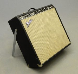 "C. 1963 Fender Super Reverb amplifier. Serial #H21223. Has four 10"" speakers (40 watts, Blackface). Works. SOLD: $2,100"