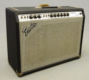 "C. 1970's Fender Vibrolux Reverb amplifier. Serial #A830407. Has two 10"" speakers (40 watts, Silverface). Works. SOLD: $1,100"