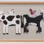 Mamie Deschillie (New Mexico b. 1920), two cows, paint on cut out cardboard with jewelry