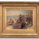 """Gilbert Gaul (N.Y./TN./N.J. 1855-1919), """"A Day At The Beach"""", oil on copper."""