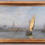 Wilhelm Karl Ferdinand Arnesen (Denmark 1865-1948), large harbor scene. Oil on canvas