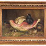 Ben Austrian (Penna./FLA. 1870-1921), five chicks on slice of watermelon, oil on artist board