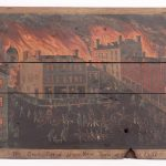 """Painted fireboard """"The Great Fires of Utica New York 1837"""""""
