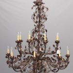 """Monumental (16) arm chandelier. Approx. 50"""" D., 60"""" Ht"""