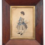 "19th c. watercolor of a young girl with hoop. Initialed LRC ""R.H.G."""