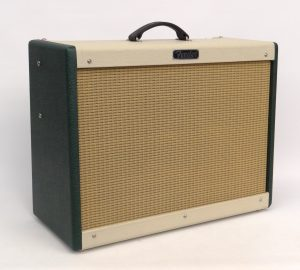 "Fender Hot Rod Deluxe two tone amplifier with original cover. (with Eminence ""PATRIOT Cannabis Rex"" speaker) Works. SOLD: $526.50"
