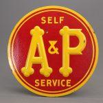 Vintage enameled metal A & P sign