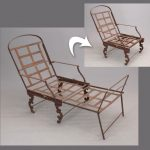 "Early iron chaise marked ""Shipway Toronto""."