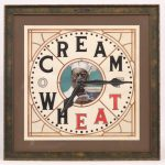"Original Cream Of Wheat illustration. Clock with center face and ""CREAM OF WHEAT""."
