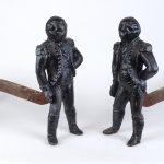 Pair Cast Iron George Washington Andirons