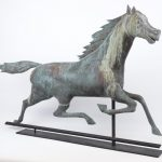 Large Nelson solid head horse weathervane in verdigris patina