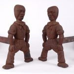 Pair African American Cast Iron Andirons