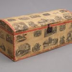 "19th c. Circus decorated folk art trunk. Marked ""E. Purcell"" and ""Major/NY"""