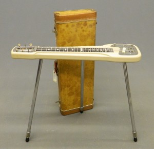 C. 1957-59 Fender Studio Deluxe six string steel guitar with legs.