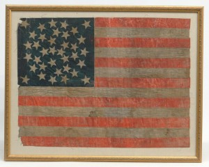 Early 36 star printed American flag.