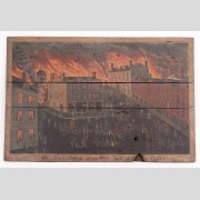 """Painted fireboard """"The Great Fires of Utica New York 1837""""."""
