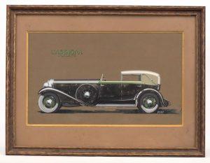 "160. Original Isotta Fraschini Showroom Artwork, ""CASTAGNA MILANO""."