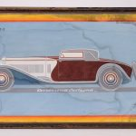 """188. Original Isotta Fraschini Showroom Artwork, """"CARROZZERIA CASTAGNA""""."""