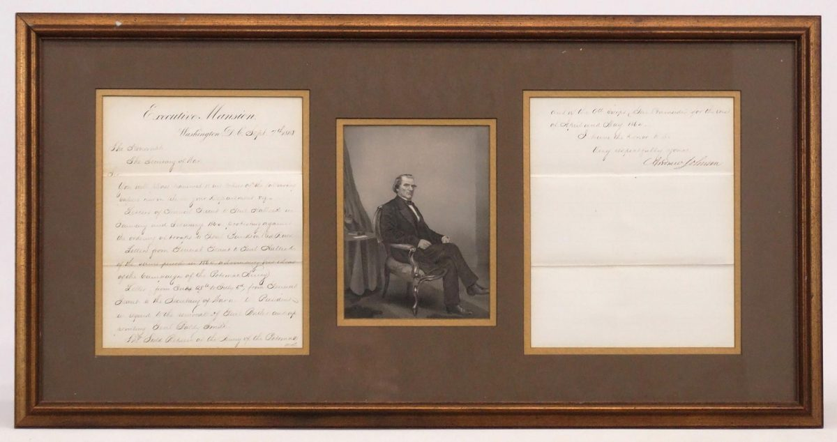 Andrew Johnson Signed Letter